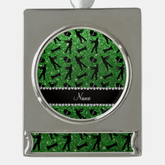Custom name green glitter zombies silver plated banner ornament