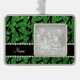 Custom name green glitter zombies silver plated framed ornament