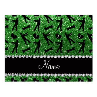 Custom name green glitter zombies post cards