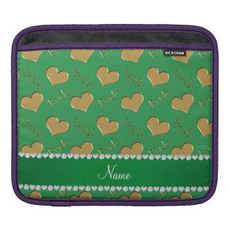 Custom name green gold bride hearts iPad sleeve