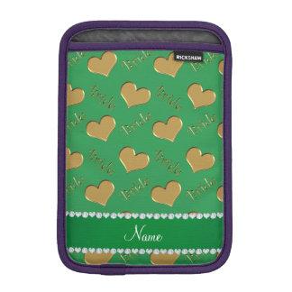 Custom name green gold bride hearts iPad mini sleeves