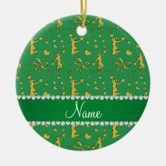 Custom name green gold cheerleading bows hearts ceramic ornament