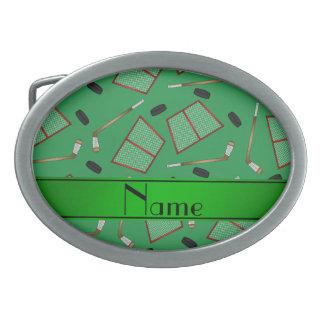 Custom name green hockey sticks pucks nets oval belt buckles