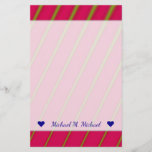 [ Thumbnail: Custom Name + Green Lines On Crimson Pattern Stationery ]