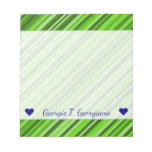 [ Thumbnail: Custom Name + Green Lines/Stripes Pattern Notepad ]