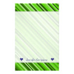 [ Thumbnail: Custom Name + Green Lines/Stripes Pattern Stationery ]