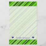 [ Thumbnail: Custom Name + Green Lines/Stripes Pattern Stationery ]