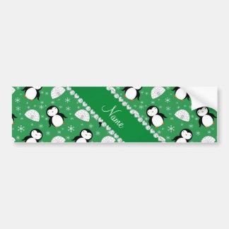 Custom name green penguins igloos snowflakes car bumper sticker