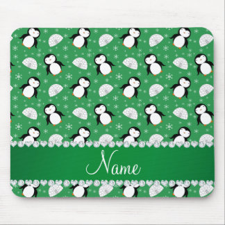 Custom name green penguins igloos snowflakes mouse pad
