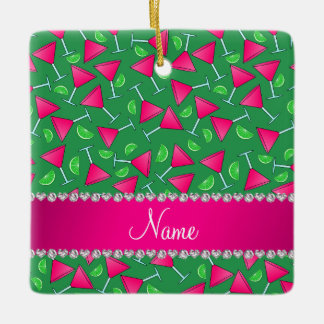 Custom name green pink cosmos limes ceramic ornament