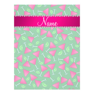 """Custom name green pink cosmos limes 8.5"""" x 11"""" flyer"""
