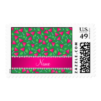 Custom name green pink cosmos limes postage