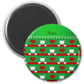 Custom name green polar bears red hearts stripes 2 inch round magnet