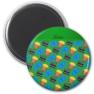 Custom name green popcorn movie ticket action sign 2 inch round magnet