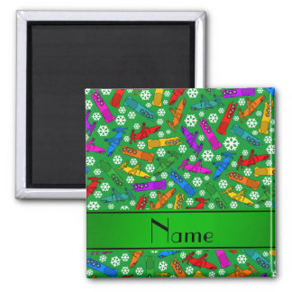 Custom name green rainbow bobsleigh snowflakes 2 inch square magnet