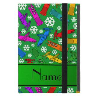 Custom name green rainbow bobsleigh snowflakes case for iPad mini