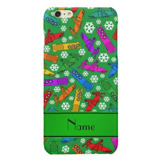 Custom name green rainbow bobsleigh snowflakes glossy iPhone 6 plus case