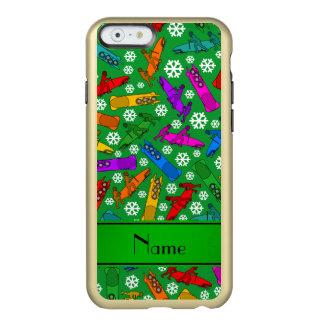 Custom name green rainbow bobsleigh snowflakes incipio feather® shine iPhone 6 case