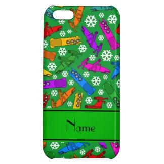 Custom name green rainbow bobsleigh snowflakes iPhone 5C case