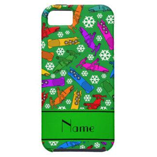 Custom name green rainbow bobsleigh snowflakes iPhone SE/5/5s case