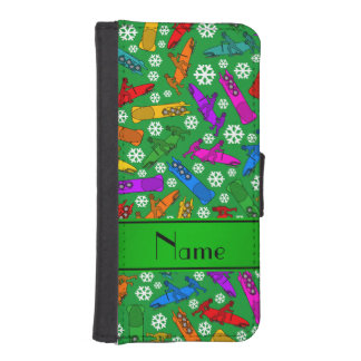 Custom name green rainbow bobsleigh snowflakes iPhone SE/5/5s wallet case
