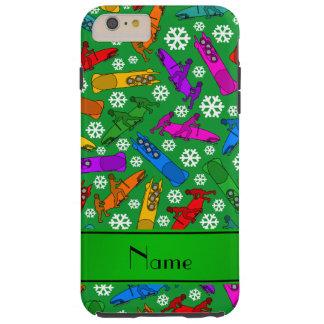 Custom name green rainbow bobsleigh snowflakes tough iPhone 6 plus case