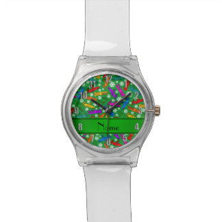 Custom name green rainbow bobsleigh snowflakes wristwatch