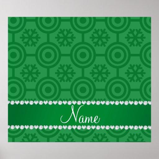 Custom name green retro snowflakes poster