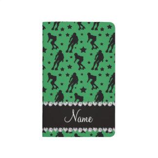 Custom name green roller derby stars journal