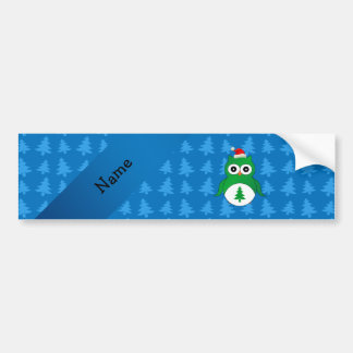 Custom name green santa owl blue christmas trees bumper sticker