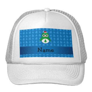 Custom name green santa owl blue christmas trees trucker hat
