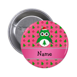 Custom name green santa owl pink christmas trees 2 inch round button