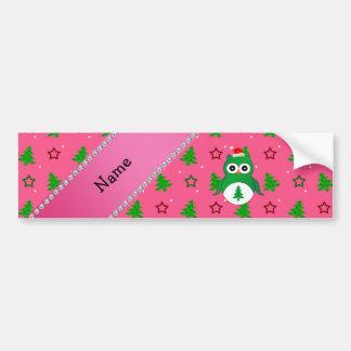 Custom name green santa owl pink christmas trees bumper sticker
