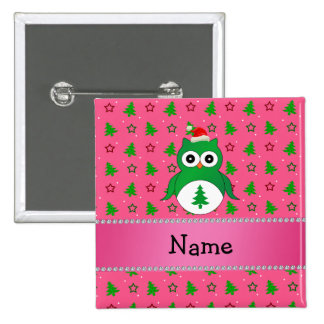 Custom name green santa owl pink christmas trees 2 inch square button