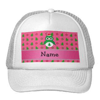 Custom name green santa owl pink christmas trees trucker hat