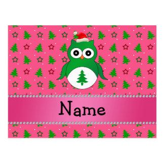 Custom name green santa owl pink christmas trees post card