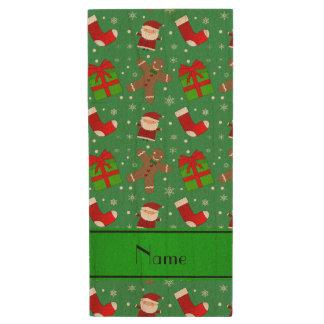 Custom name green santas gingerbread