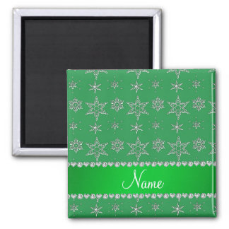 Custom name green silver snowflakes green stripe magnets