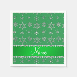 Custom name green silver snowflakes green stripe standard cocktail napkin