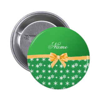 Custom name green snowflakes gold bow 2 inch round button
