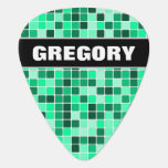 [ Thumbnail: Custom Name + Green Tiled Squares Pattern Guitar Pick ]