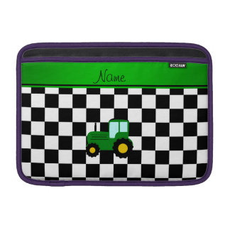 Custom name green tractor black and white checkers MacBook air sleeves