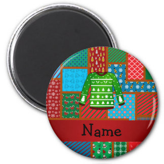 Custom name green ugly christmas sweater 2 inch round magnet