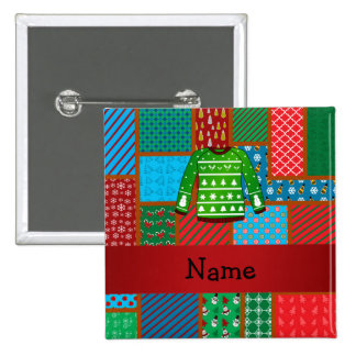 Custom name green ugly christmas sweater 2 inch square button
