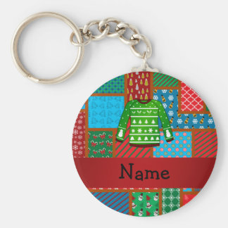 Custom name green ugly christmas sweater basic round button keychain