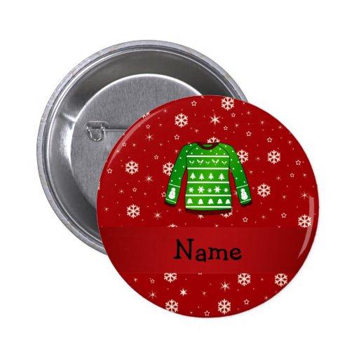 Custom name green ugly christmas sweater button