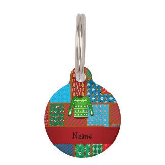 Custom name green ugly christmas sweater pet tags