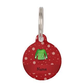 Custom name green ugly christmas sweater pet ID tag