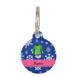 Custom name green ugly christmas sweater pet nametag