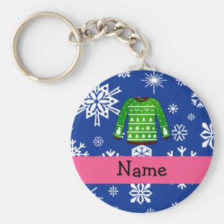 Custom name green ugly christmas sweater keychain